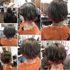 ロング フェミニン カラートリートメント アッシュグレージュ ヘアスタイルや髪型の写真・画像