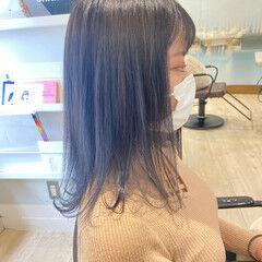 ブルーアッシュ ブルージュ ブルーブラック ミディアム ヘアスタイルや髪型の写真・画像