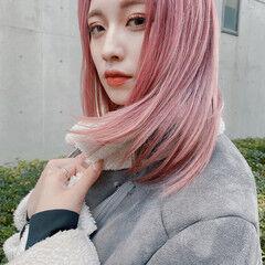 ブリーチカラー ブリーチ ダブルブリーチ セミロング ヘアスタイルや髪型の写真・画像