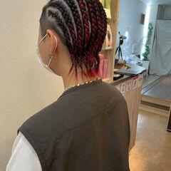 コーンロウ ショート 編み込み ブレイズ ヘアスタイルや髪型の写真・画像