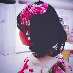 アップスタイル 成人式 コンサバ 丸顔 ヘアスタイルや髪型の写真・画像