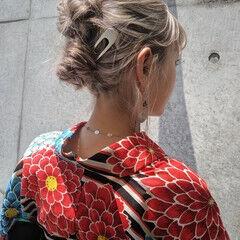 ツインお団子 浴衣アレンジ 浴衣ヘア ヘアアレンジ ヘアスタイルや髪型の写真・画像