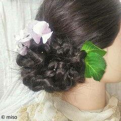 和装 甘め ヘアアレンジ ロング ヘアスタイルや髪型の写真・画像