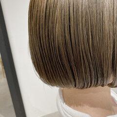 ボブ ショートボブ 透明感カラー カーキアッシュ ヘアスタイルや髪型の写真・画像