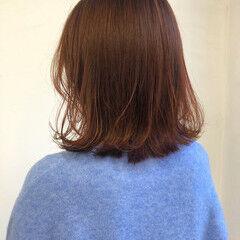 ボブ オレンジカラー ナチュラル オレンジベージュ ヘアスタイルや髪型の写真・画像