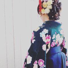 袴 波ウェーブ ロング ヘアアレンジ ヘアスタイルや髪型の写真・画像