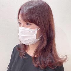 透明感カラー ミディアム 小顔ヘア ピンクブラウン ヘアスタイルや髪型の写真・画像