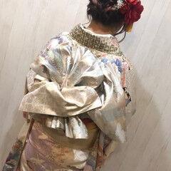 エレガント 成人式ヘア セミロング ヘアアレンジ ヘアスタイルや髪型の写真・画像