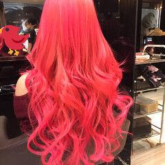 ピンク ガーリー 個性的 モテ髪 ヘアスタイルや髪型の写真・画像