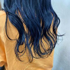 ロング ブルー ターコイズブルー ネイビーブルー ヘアスタイルや髪型の写真・画像