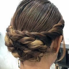 結婚式ヘアアレンジ 裏編み込み エレガント ヘアアレンジ ヘアスタイルや髪型の写真・画像