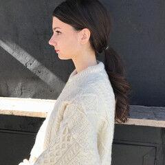 ポニーテール 抜け感 透明感 ロング ヘアスタイルや髪型の写真・画像