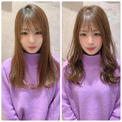 ミルクティーグレージュ フェザーバング セミロング シースルーバング ヘアスタイルや髪型の写真・画像