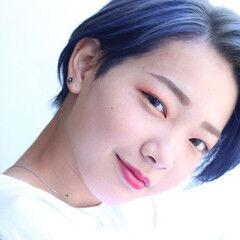 ネイビーブルー ベリショ ショート ストリート ヘアスタイルや髪型の写真・画像
