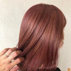 ピンクラベンダー ピンクベージュ ガーリー ピンクブラウン ヘアスタイルや髪型の写真・画像