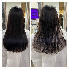 セミロング アッシュ ミルクティー エクステ ヘアスタイルや髪型の写真・画像