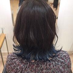 グラデーションボブ ボブ ブルー ブルーグラデーション ヘアスタイルや髪型の写真・画像