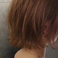 簡単ヘアアレンジ ボブ 波ウェーブ ナチュラル ヘアスタイルや髪型の写真・画像
