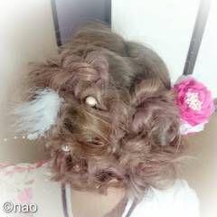 ヘアアレンジ 振袖 セミロング 成人式 ヘアスタイルや髪型の写真・画像
