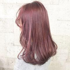 ヘアアレンジ フェミニン コリアンピンク コリアンカラー ヘアスタイルや髪型の写真・画像