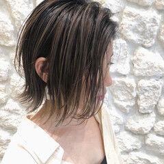 エアリー 切りっぱなしボブ ボブ ナチュラル ヘアスタイルや髪型の写真・画像