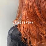 ガーリー オレンジブラウン ブリーチカラー オレンジカラー