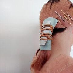 ヘアアレンジ モード ミディアム ローポニーテール ヘアスタイルや髪型の写真・画像