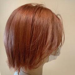 ボブ オレンジカラー モード コーラル ヘアスタイルや髪型の写真・画像