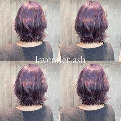 ミディアム フェミニン ラベンダー ラベンダーカラー ヘアスタイルや髪型の写真・画像