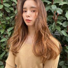 小顔ヘア 簡単スタイリング 韓国ヘア セミロング ヘアスタイルや髪型の写真・画像