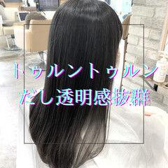 グレージュ ナチュラル 髪質改善 セミロング ヘアスタイルや髪型の写真・画像