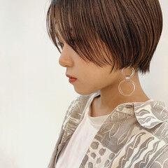 ナチュラル ハンサムバング ショートヘア ショート ヘアスタイルや髪型の写真・画像