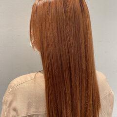 ハイトーンカラー ストリート オレンジブラウン ハイライト ヘアスタイルや髪型の写真・画像