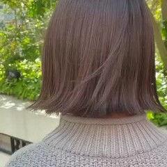ミニボブ ナチュラル ボブ アッシュグレージュ ヘアスタイルや髪型の写真・画像