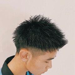 メンズスタイル 2ブロック アップバング メンズカット ヘアスタイルや髪型の写真・画像