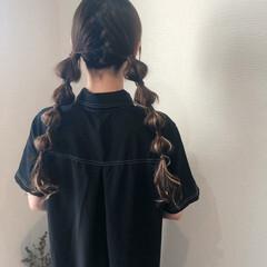 ヘアセット ツインテール フェミニン 玉ねぎ ヘアスタイルや髪型の写真・画像