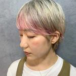 インナーカラー 前髪インナーカラー ピンクカラー ストリート