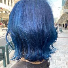 ミディアム ウルフカット マッシュウルフ ブルー ヘアスタイルや髪型の写真・画像