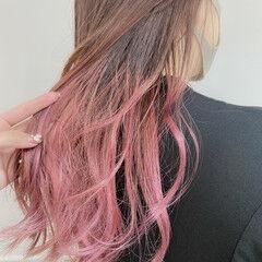 ピンク くすみカラー 透明感カラー グラデーションカラー ヘアスタイルや髪型の写真・画像