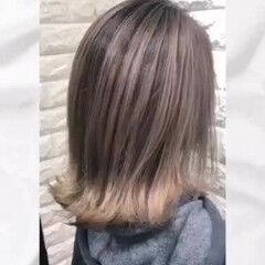 バレイヤージュ デザインカラー ミルクティー ミルクティーベージュ ヘアスタイルや髪型の写真・画像