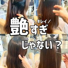 髪質改善 ブリーチなし 縮毛矯正 グレージュ ヘアスタイルや髪型の写真・画像