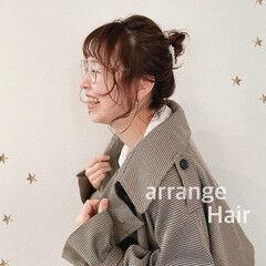 簡単ヘアアレンジ ミディアム ミディアムレイヤー ナチュラル ヘアスタイルや髪型の写真・画像