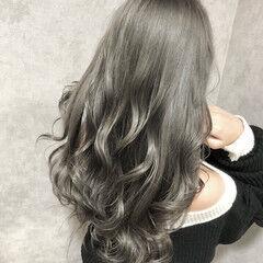 ダブルカラー 透明感カラー ロング エレガント ヘアスタイルや髪型の写真・画像