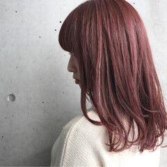 ロブ 艶髪 ピンク ワンカール ヘアスタイルや髪型の写真・画像