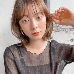 ナチュラル 透明感カラー 外ハネボブ シースルーバング ヘアスタイルや髪型の写真・画像