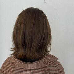 切りっぱなしボブ ナチュラル 秋ブラウン シアーベージュ ヘアスタイルや髪型の写真・画像