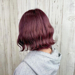 ボブ バイオレットカラー アディクシーカラー ピンクカラー ヘアスタイルや髪型の写真・画像