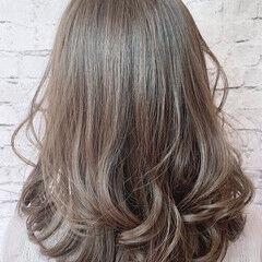フェミニン ヘアカラー デジタルパーマ セミロング ヘアスタイルや髪型の写真・画像