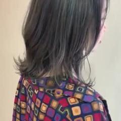 切りっぱなしボブ グレージュ ロブ ストリート ヘアスタイルや髪型の写真・画像