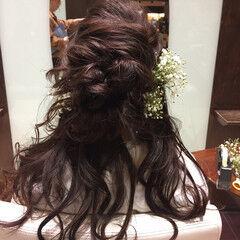 ナチュラル ヘアアレンジ 花 セミロング ヘアスタイルや髪型の写真・画像